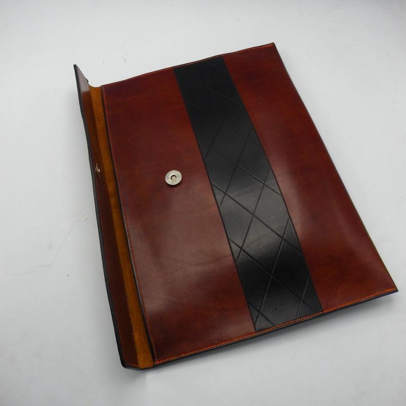 Brown portfolio with black stripe