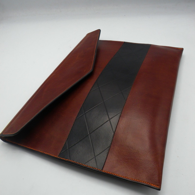 Brown portfolio with black stripe