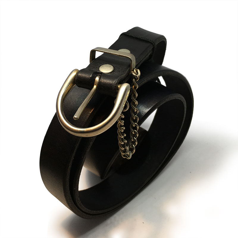 Black Thin Classic Ladies Belt with Vintage Buckle