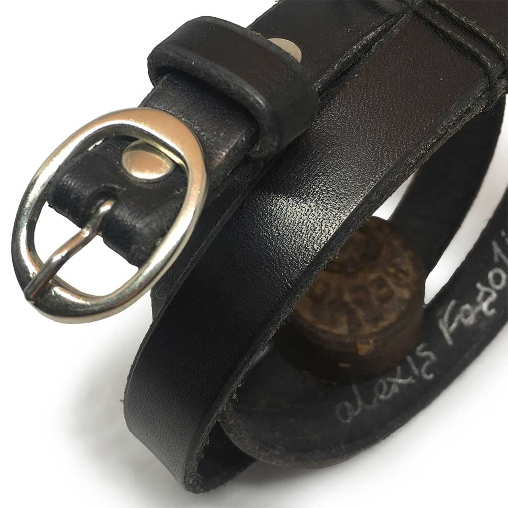 Classic Black Kids Belt with Vintage Buckle