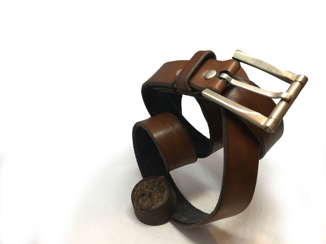 Brown Spanish Calfskin Belt with Square Vintage Buckle