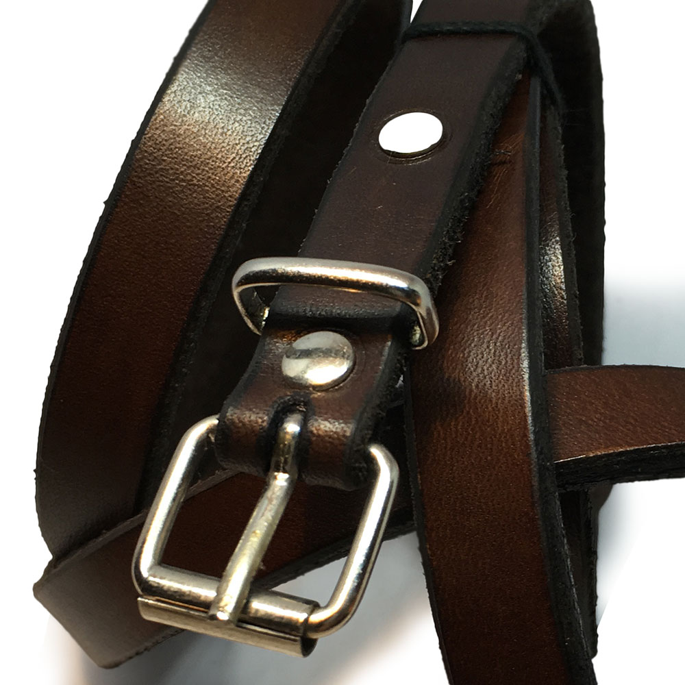 Brown Thin Ladies Belt with Vintage Buckle