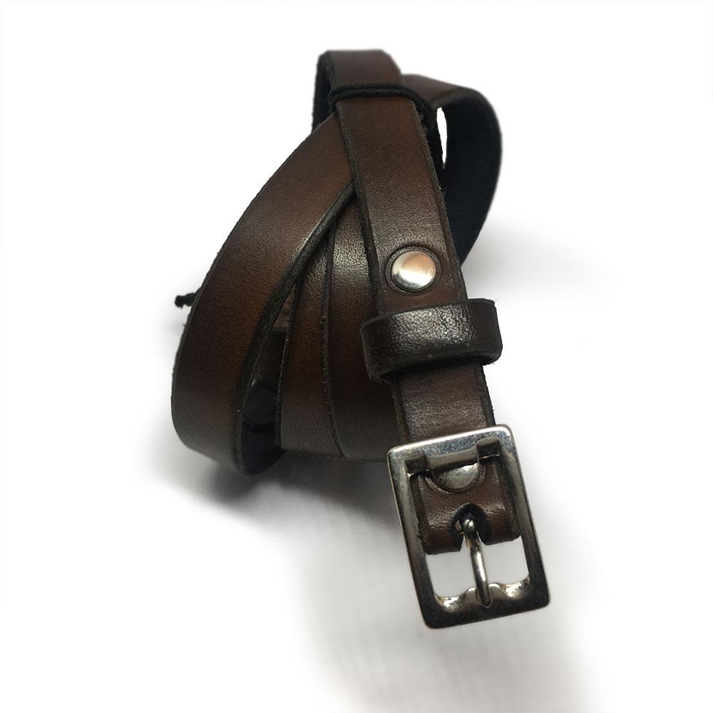 Dark Brown Kids Belt with Vintage Buckle