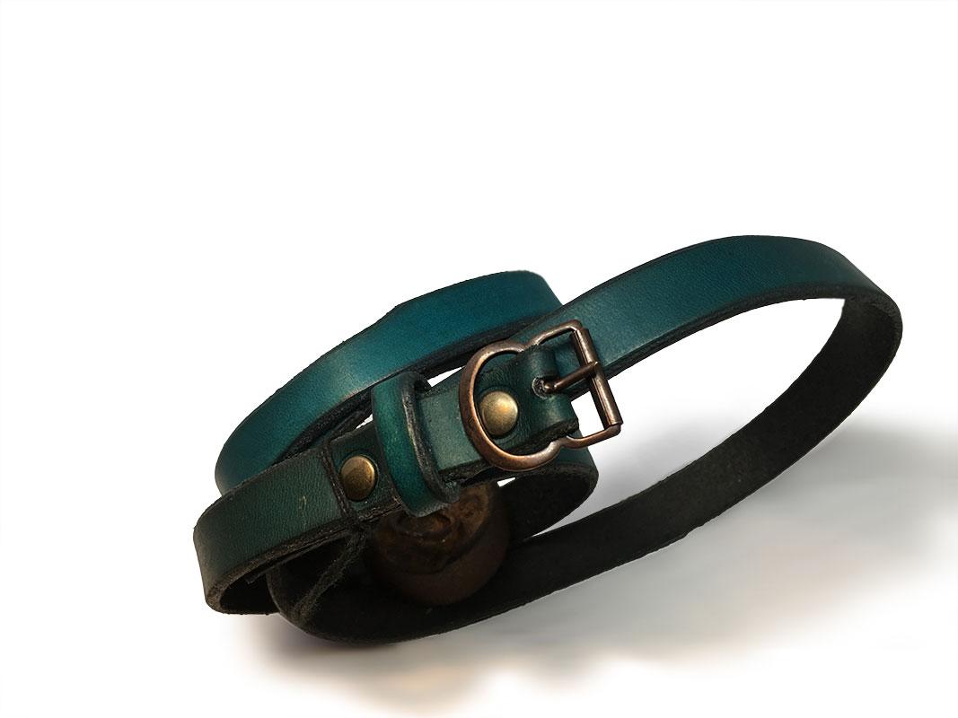 Green Thin Ladies Belt with Vintage Buckle