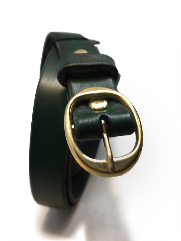 Elegant Green Ladies Belt with Vintage Buckle