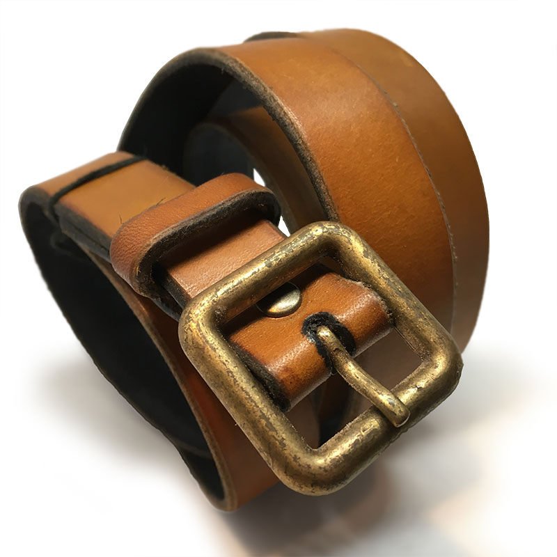 Tan Spanish Calfskin Belt with Vintage Buckle