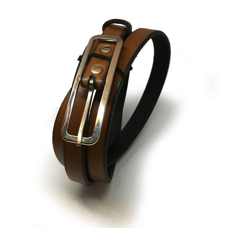 Tan Thin Ladies Belt with Vintage Buckle