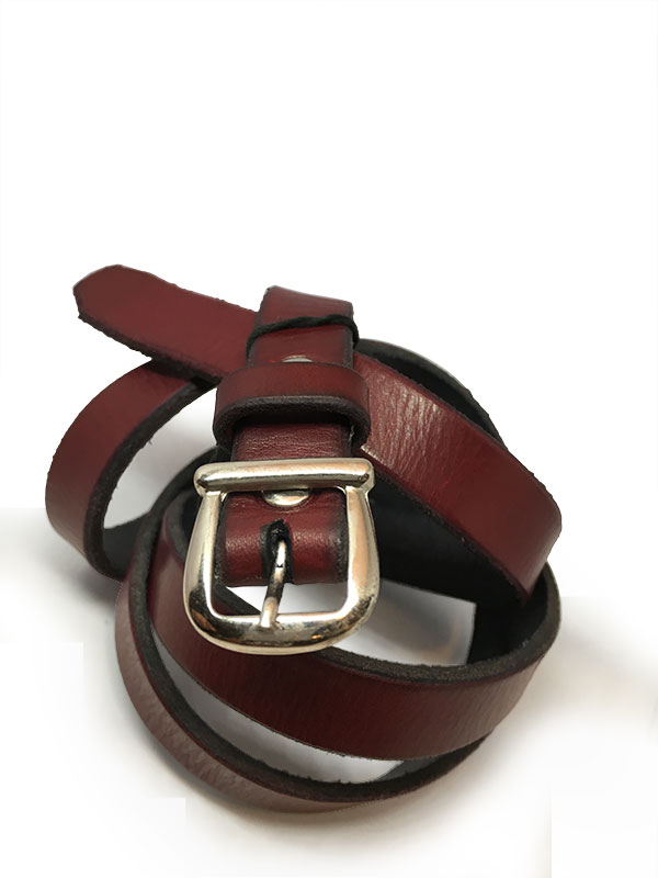 Red Thin Ladies Belt with Vintage Buckle