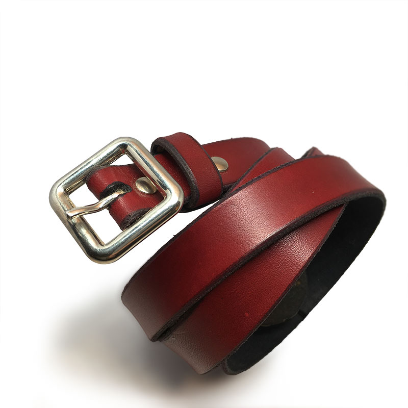 Red Spanish Calfskin Belt with Vintage Buckle