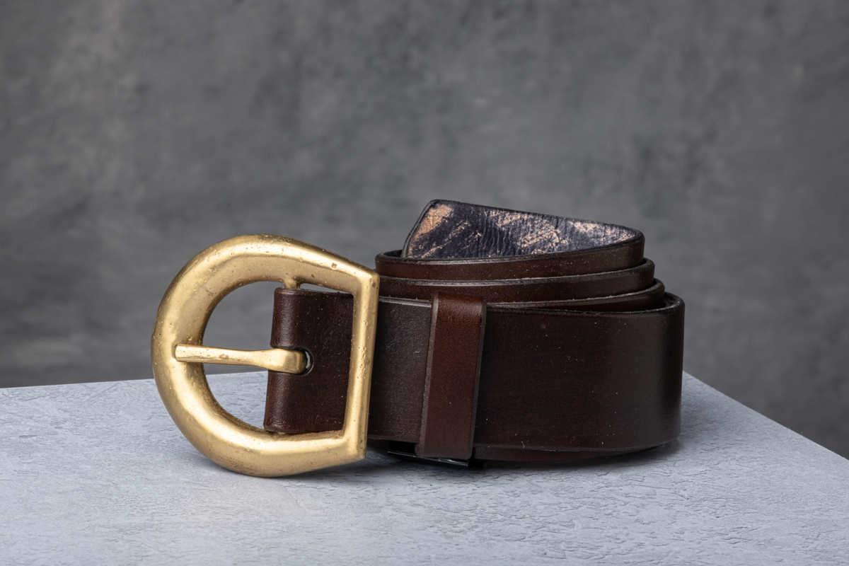 AF Buckle Nº14 with brown leather belt strap
