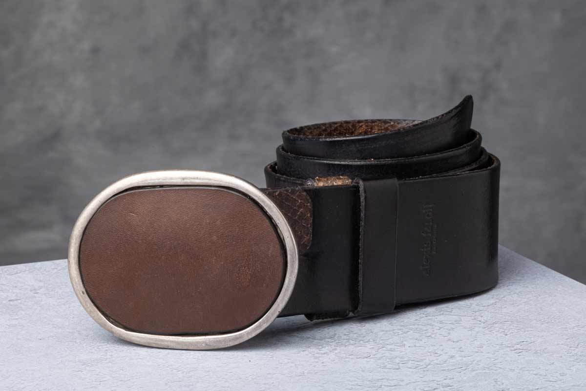 AF Buckle Nº2 with brown leather belt strap